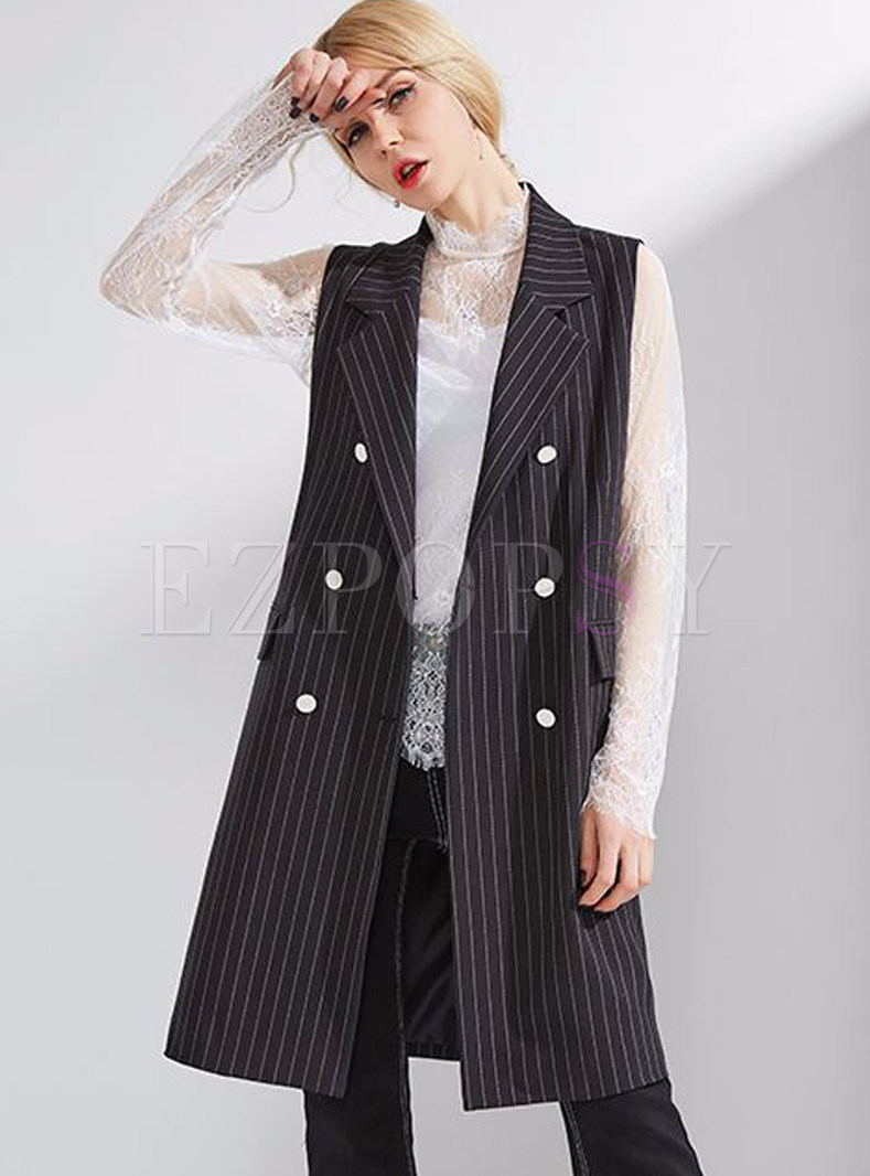 Striped Double-breasted Turn Down Collar Vest
