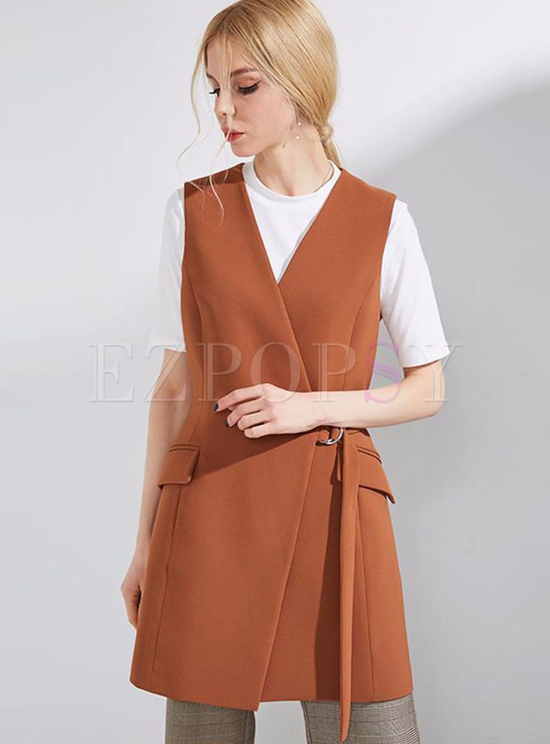 Caramel Stylish V-neck Belted Vest