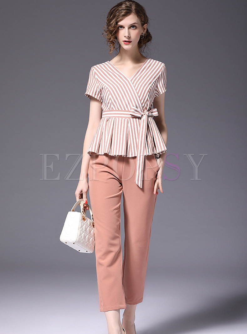 Elegant V-neck Striped T-shirt & Straight Pants