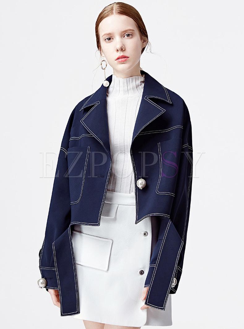 Chic Loose Notched Neck Denim Jacket
