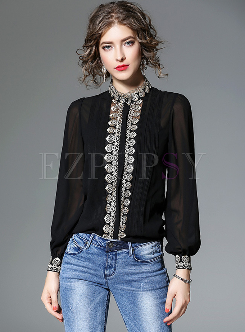 Black ELegant Lantern Sleeve Blouse With Tanks