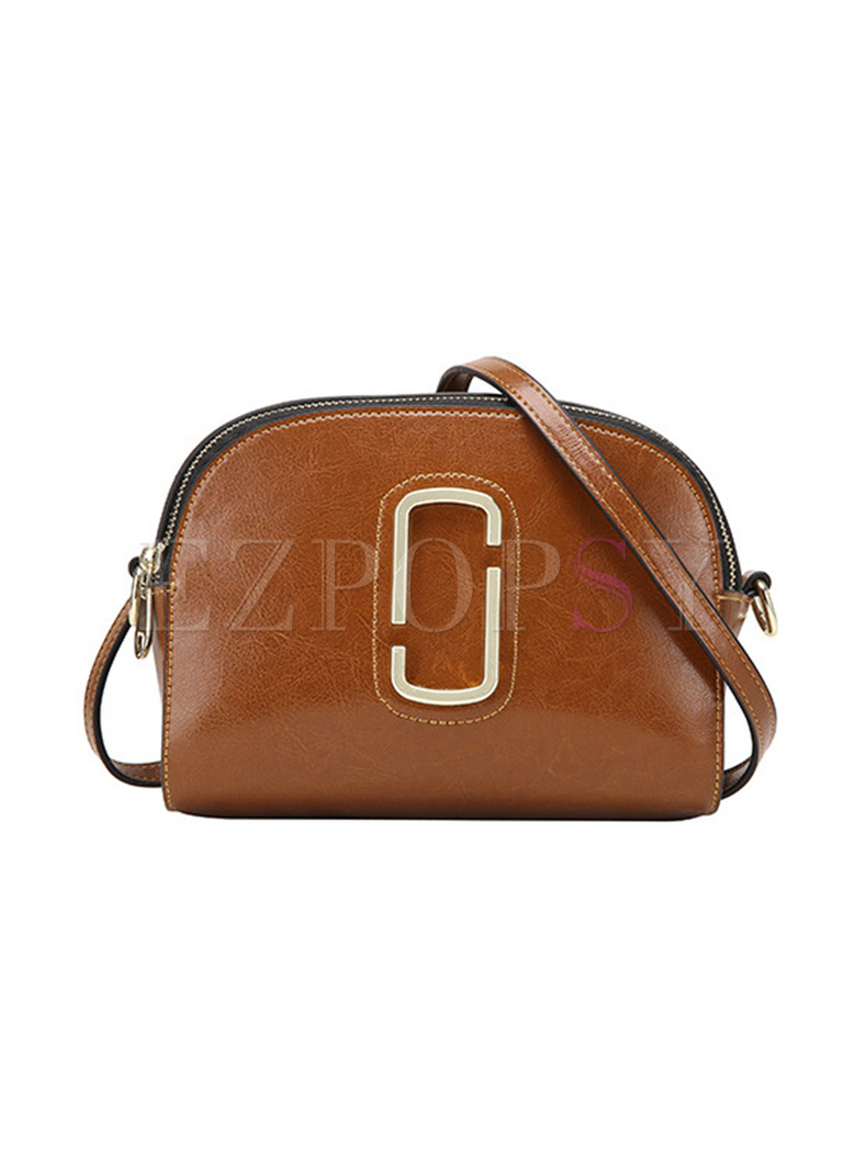 Brief Zippered Closure Crossbody Bag
