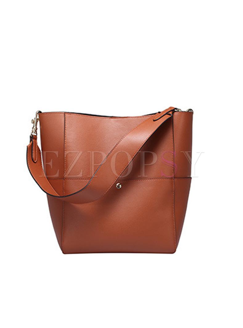 Casual Split Cowhide Barrel Bag