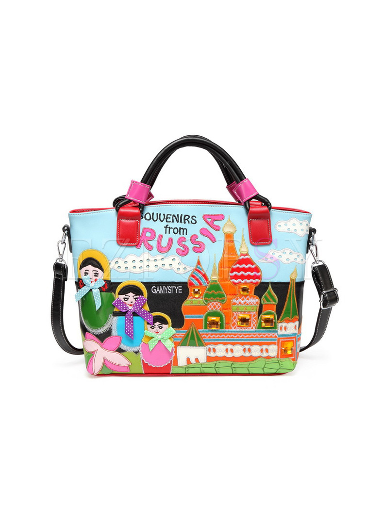 Cut Cartoon Handed Embroidery Top Handed Bag
