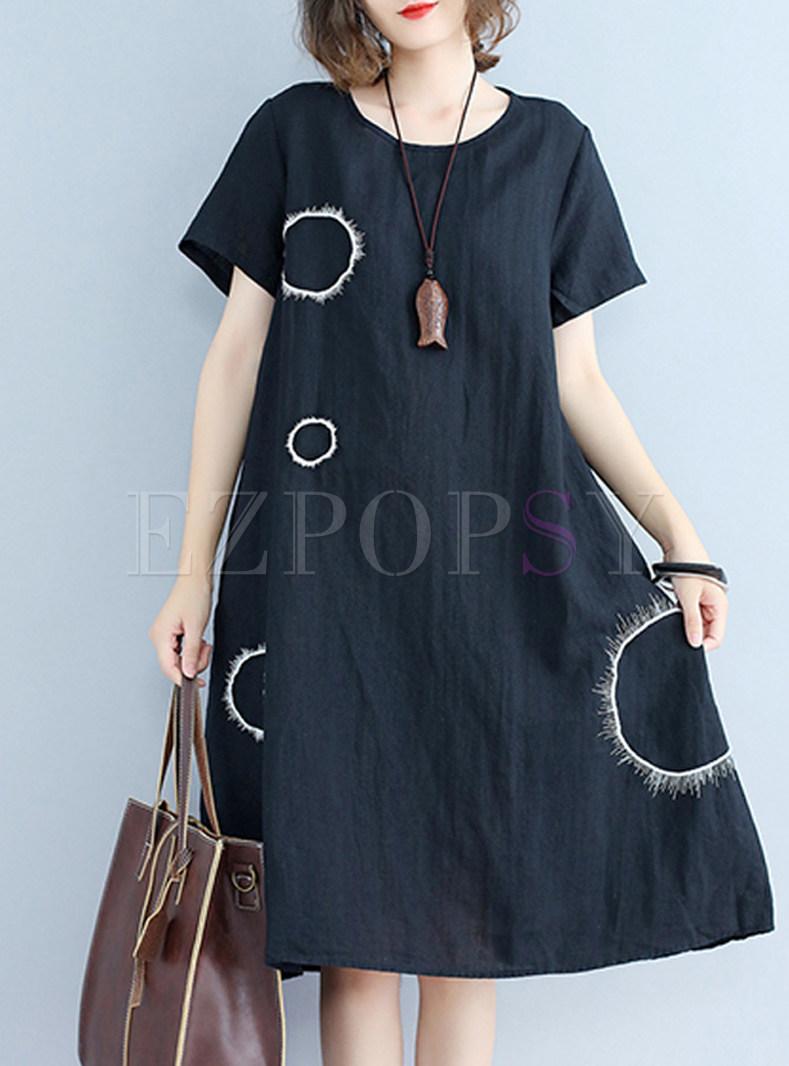 Cute Loose Short Sleeve Shift Dress