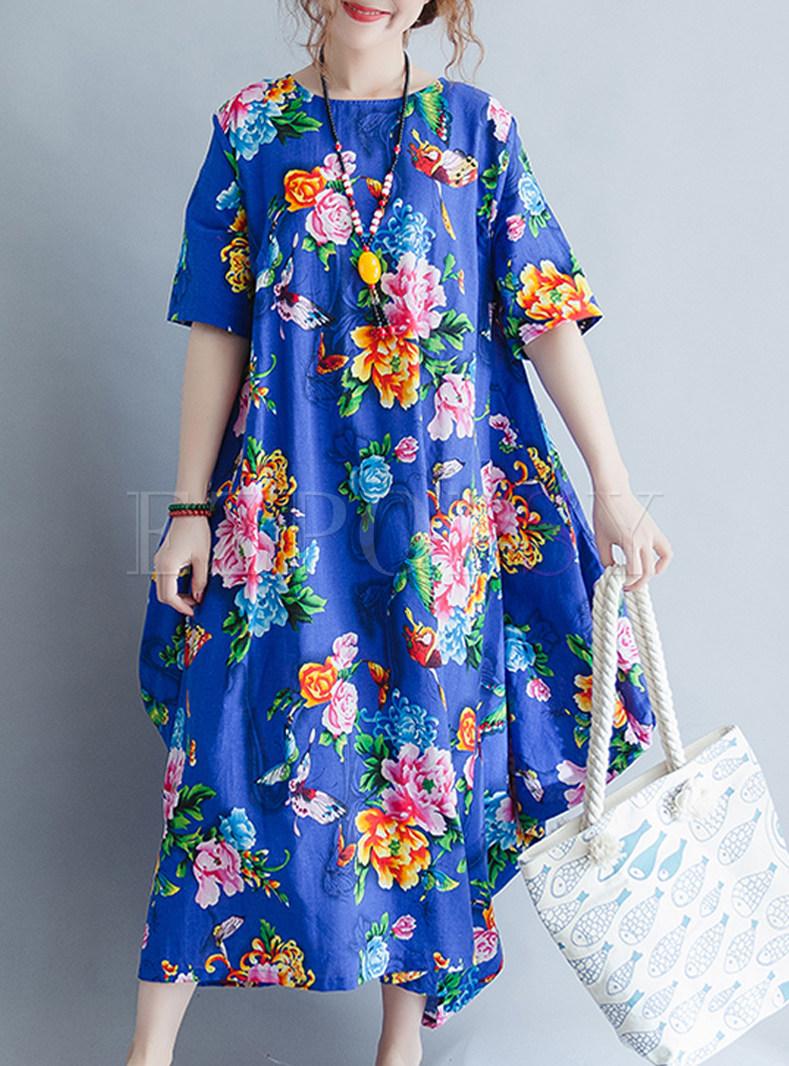 Blue Flower Print Loose Maxi Dress