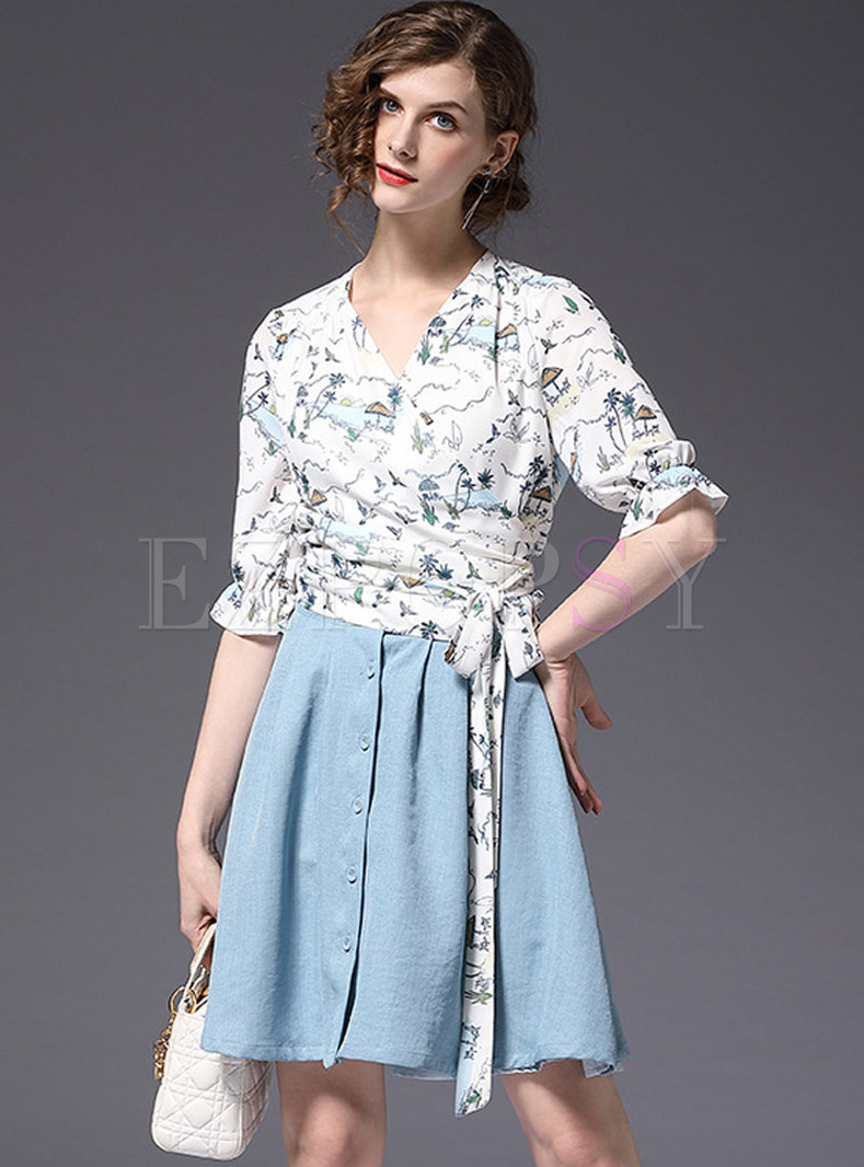 Floral Print V-neck Blouse & Blue Denim Skirt