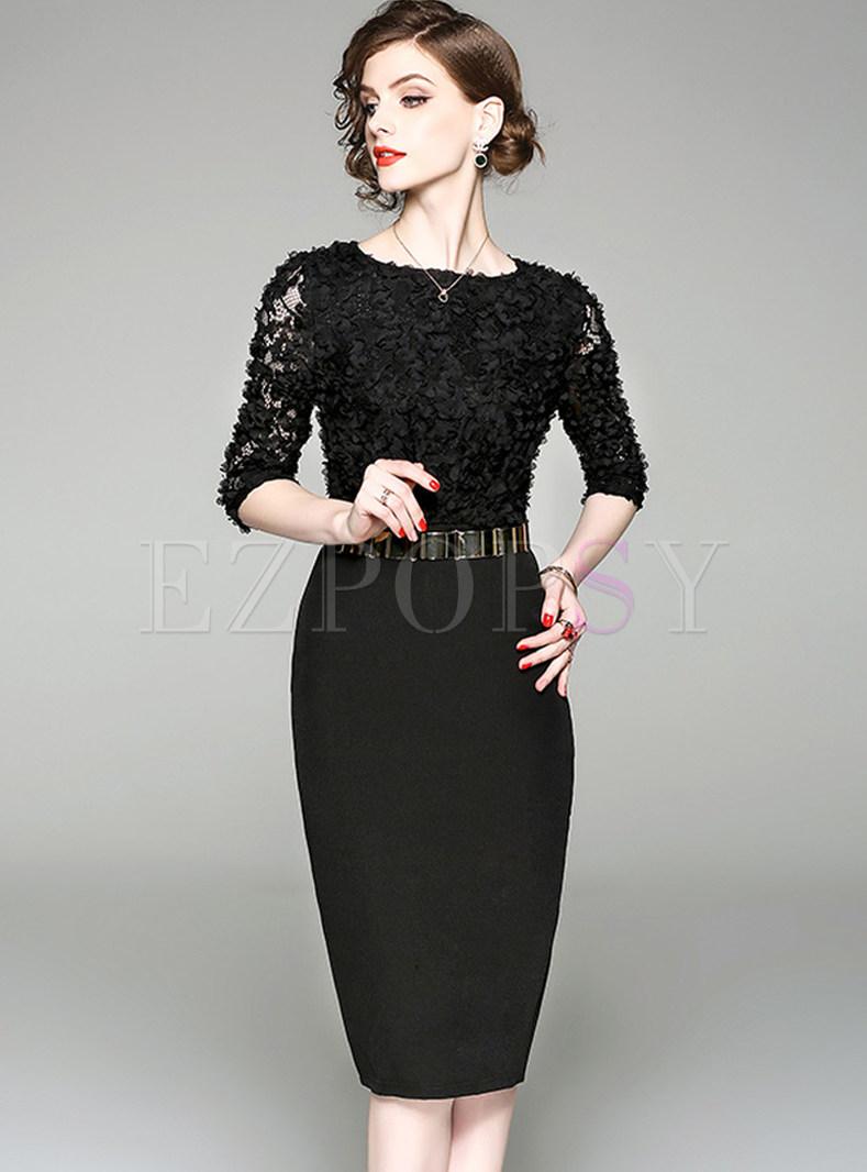 Black O-neck Half Sleeve Bodycon Dress