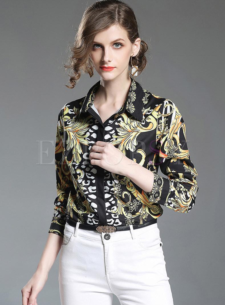 Chic Ethnic Print Long Sleeve Blouse