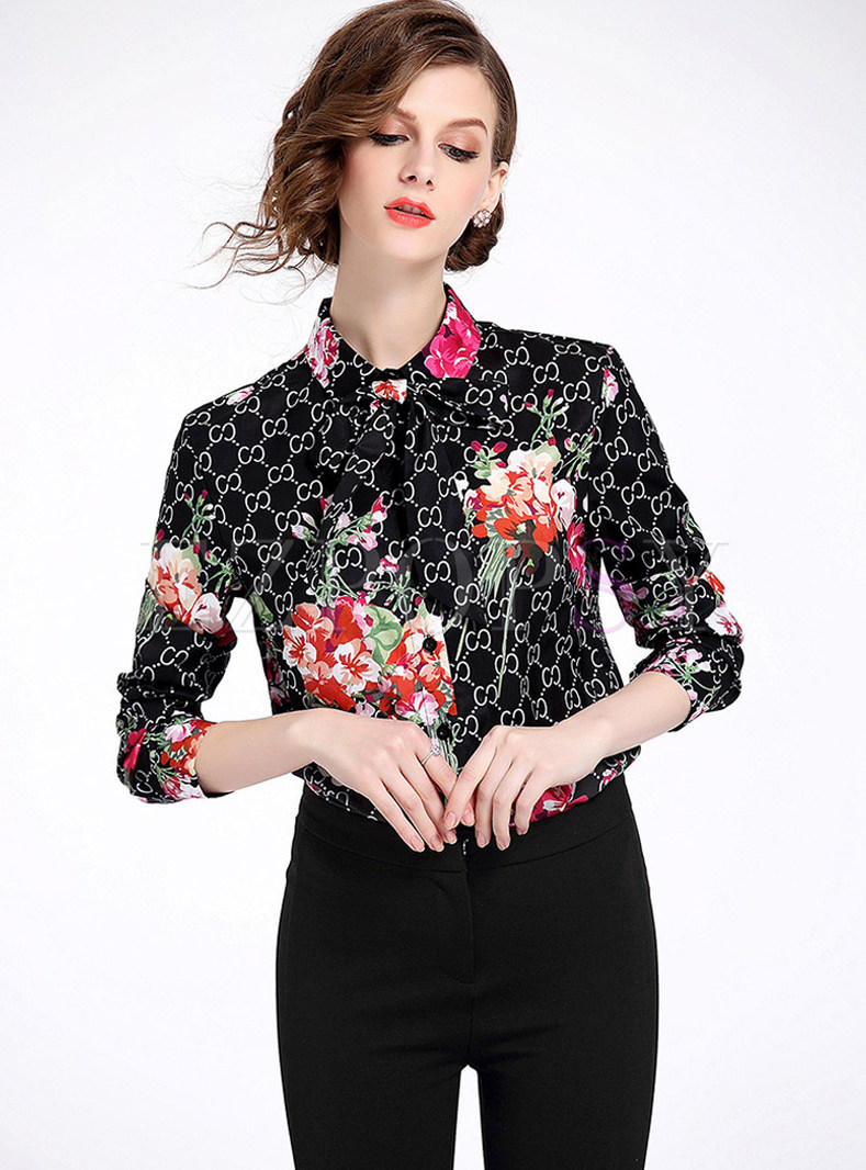 Vintage Flower Print Lapel Blouse