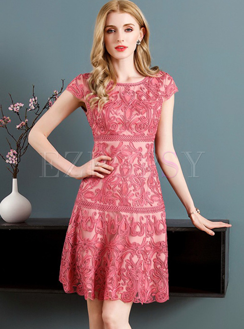 Pink Mesh Embroidered A-line Dress