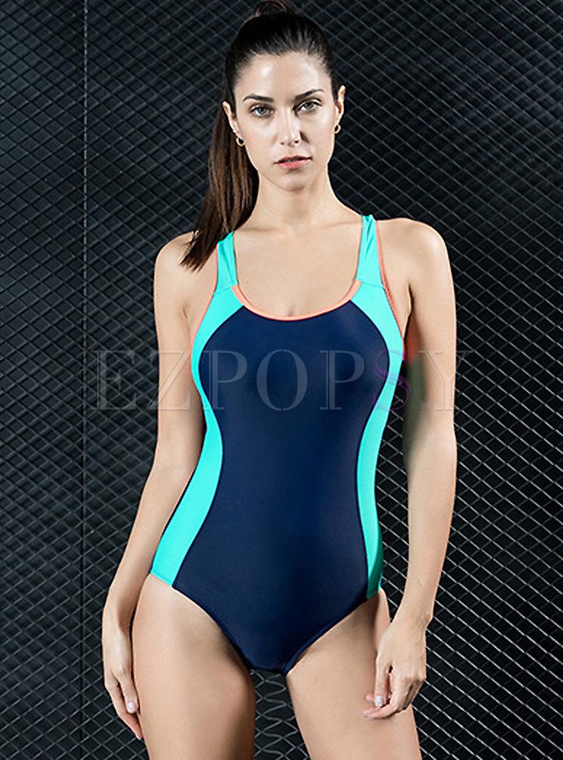 Sexy Scoop Neckline Backless Swimwear