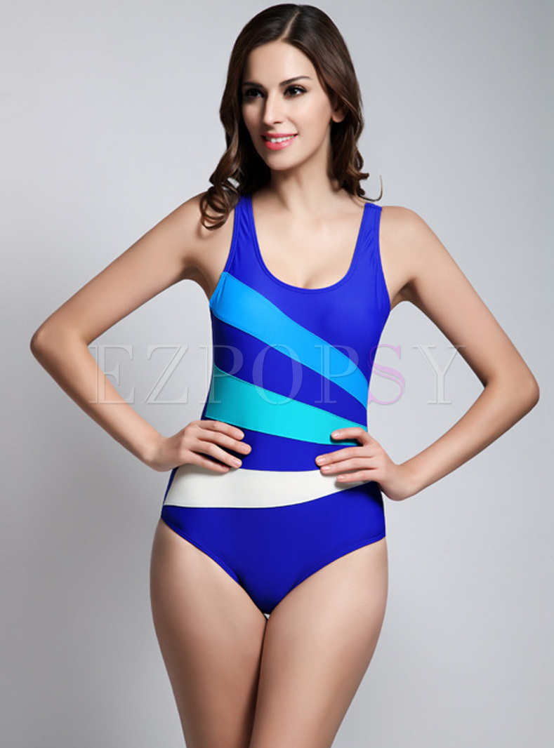 Striped Hit Color Scoop Neckline Swimwear