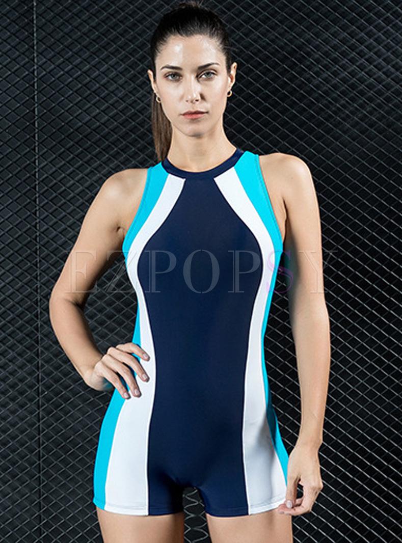 Striped Hit Color Sheath Swimwear