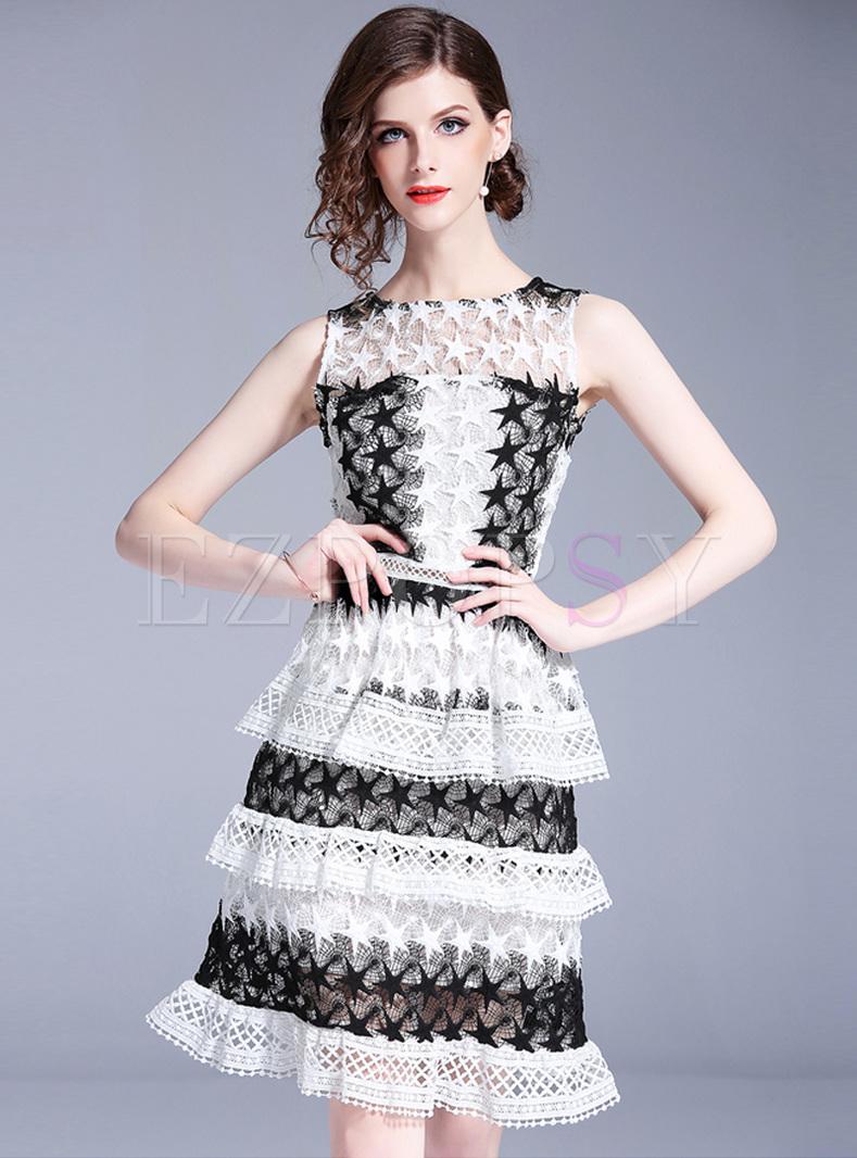 Party Monochrome Lace Cake Dress