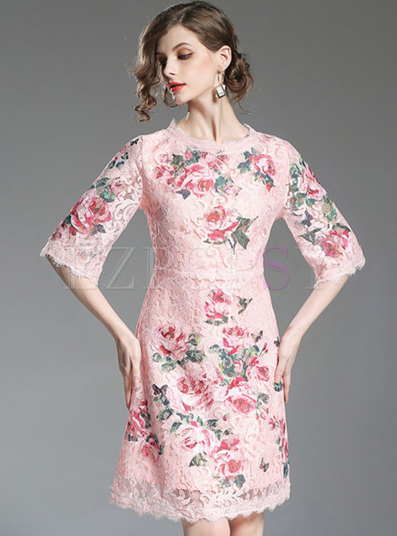 Pink Lace Embroidered Half Sleeve Skater Dress