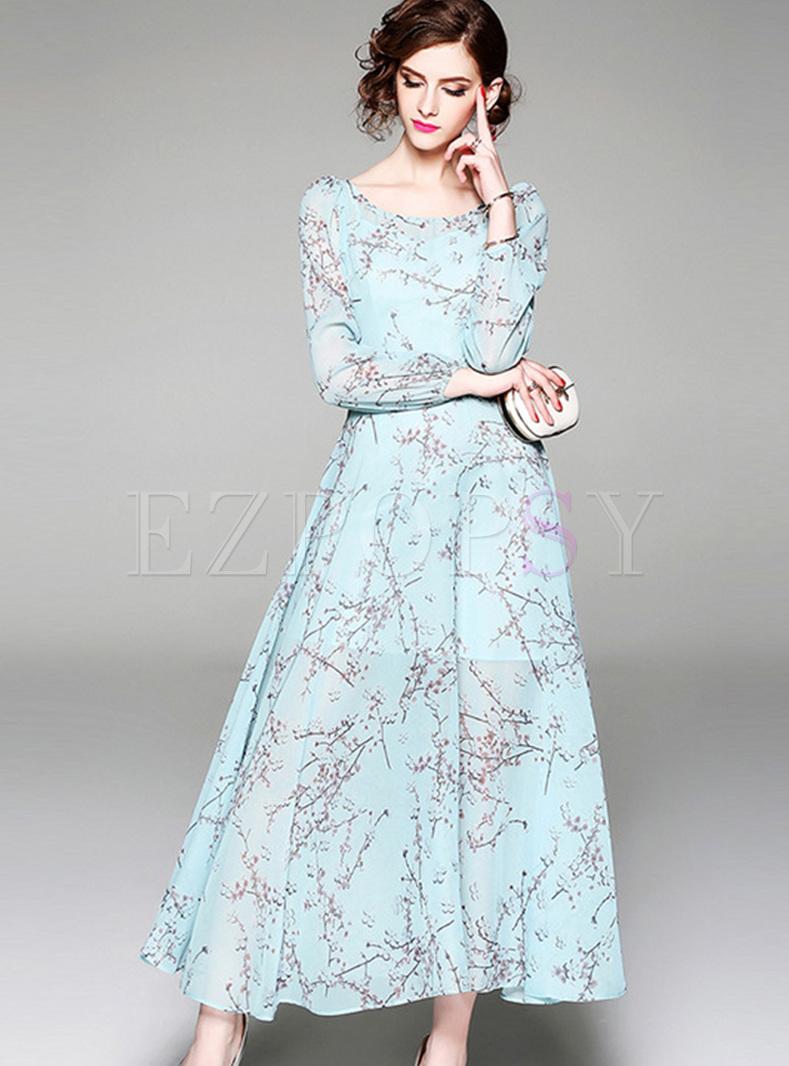 198380cb46b9e Dresses   Maxi Dresses   Blue Lantern Sleeve Chiffon Maxi Dress