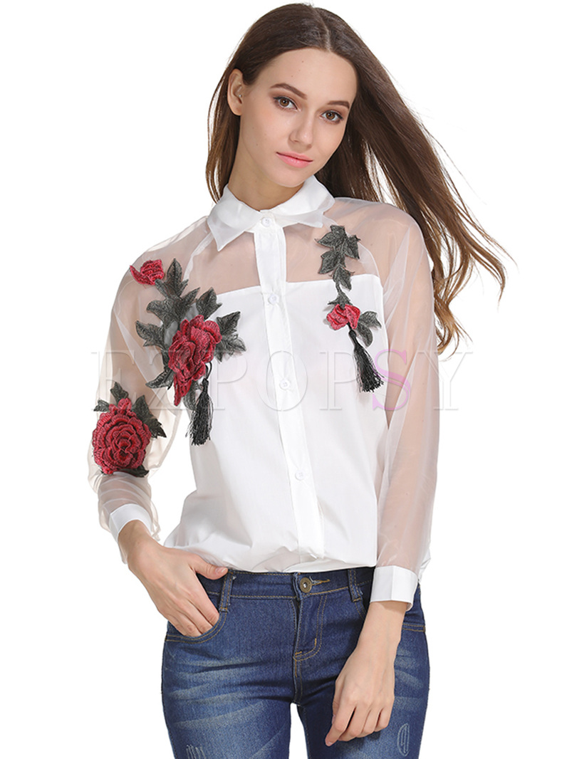 White See Through Embroidered Blouse