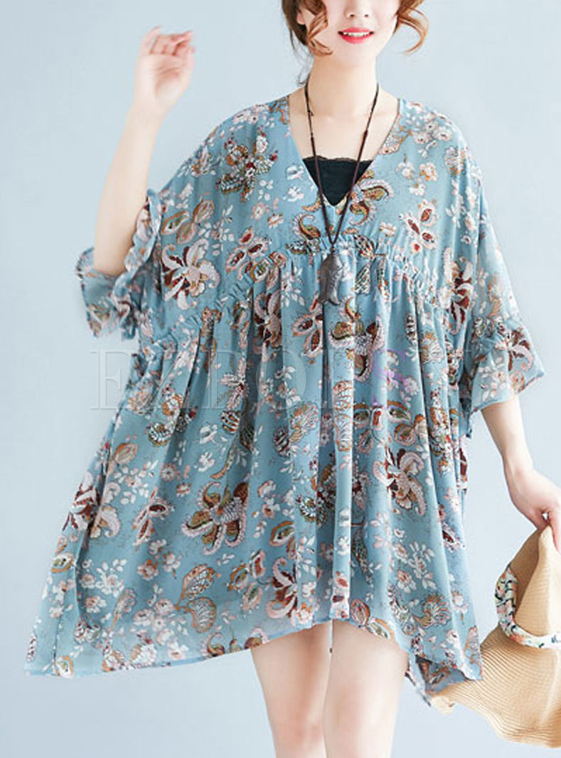 Cute Floral Print Big Hem Dress