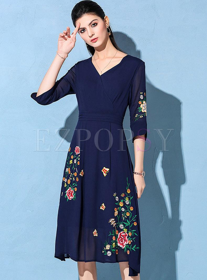 a2882143a76b Dresses | Skater Dresses | Navy Blue V-neck Embroidered Skater Dress
