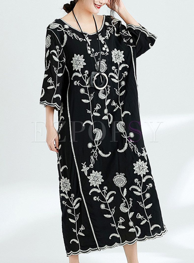 Black Ethnic Embroidered Maxi Dress