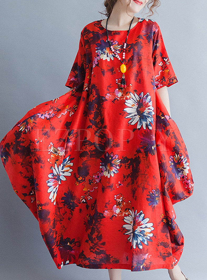 Red Floral Print Plus Size Maxi Dress