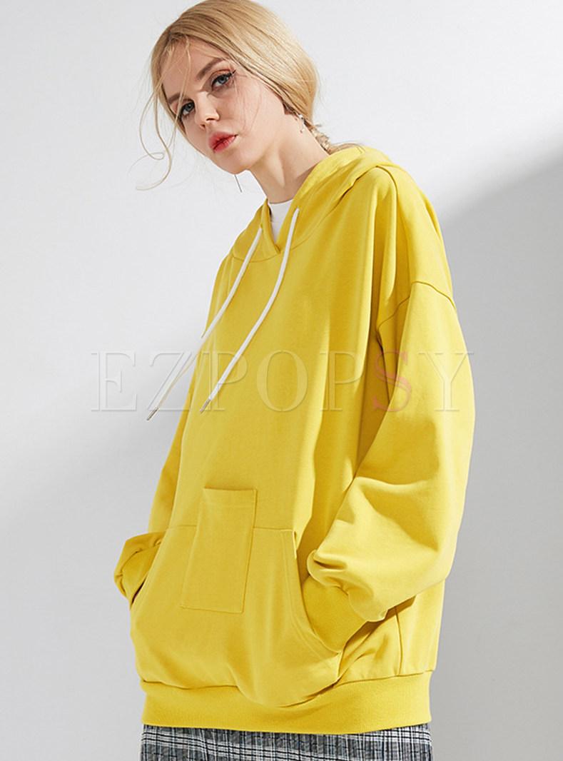 Yellow Loose Letter Print Hoodie