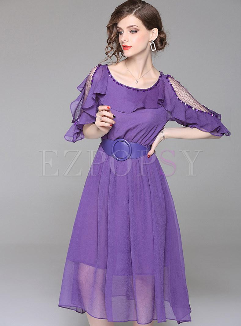 Purple Belted Chiffon Skater Dress