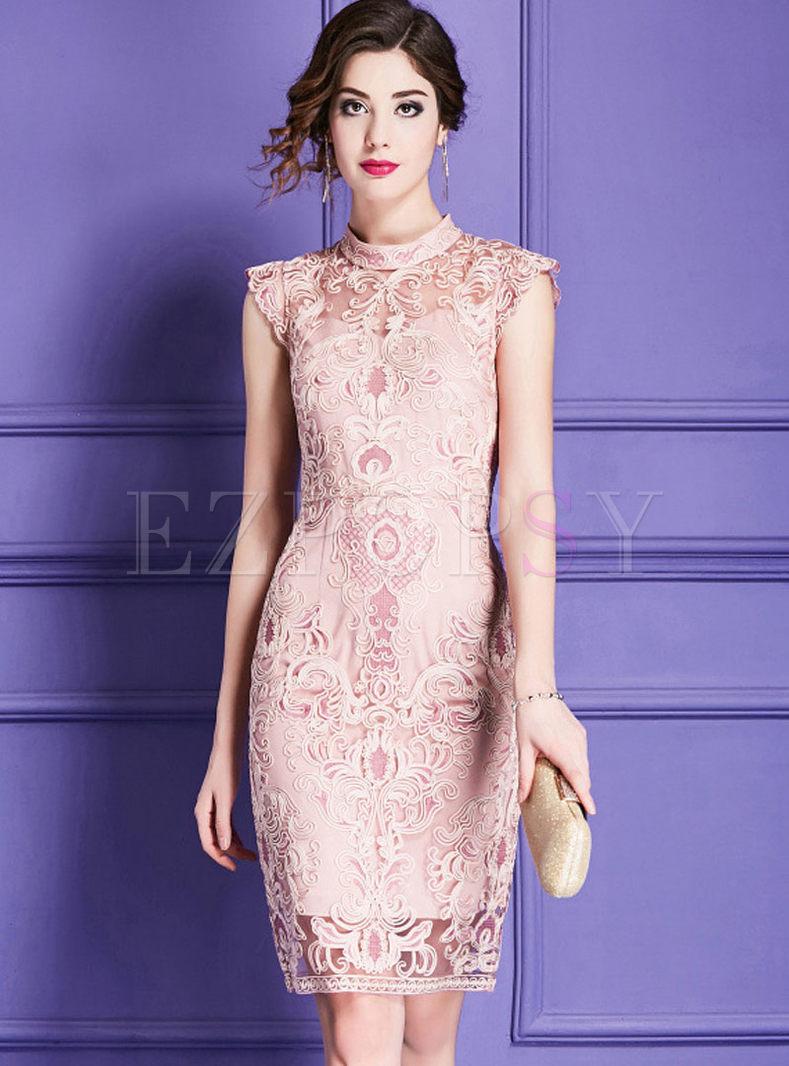Elegant Mesh Splicing High Waist Vintage Slim Dress