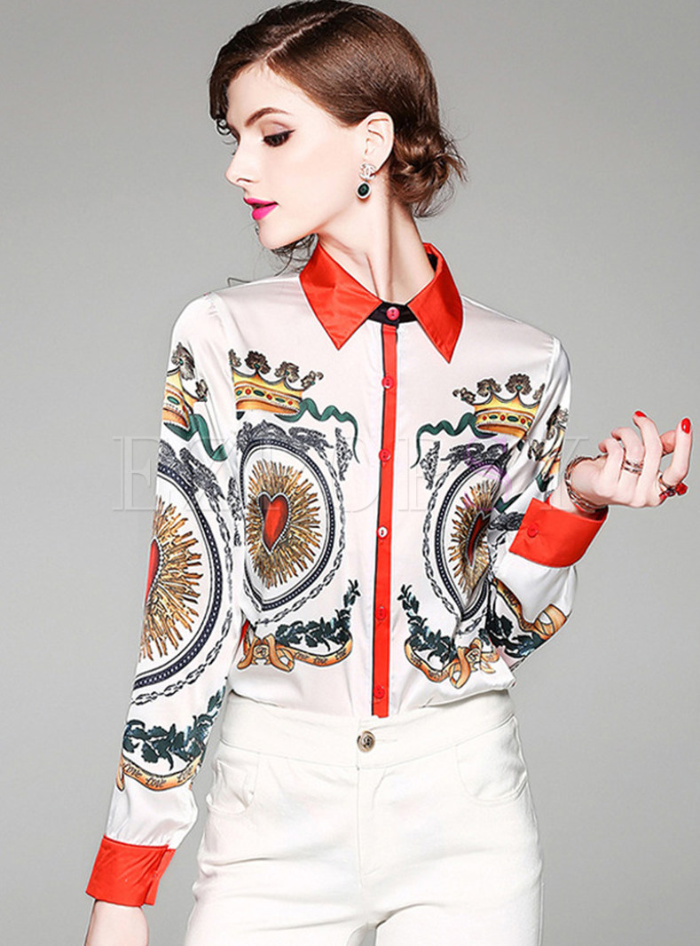 Court Print Lapel Long Sleeve Blouse