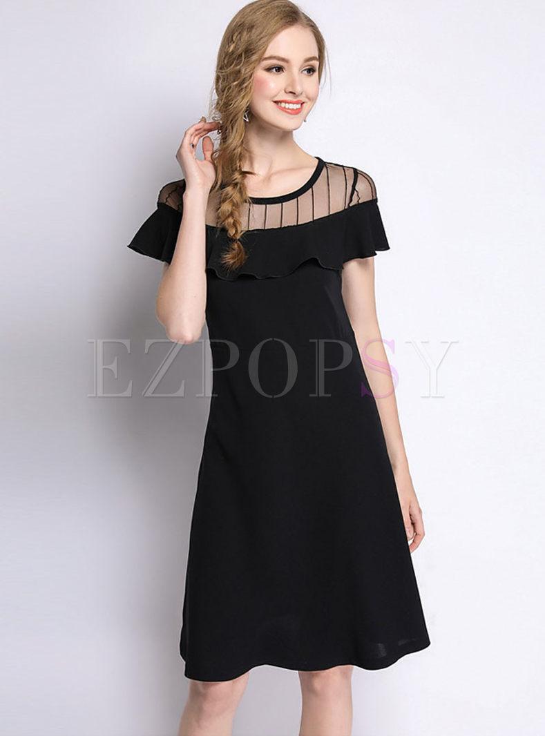 Mesh Black Plus Size Skater Dress