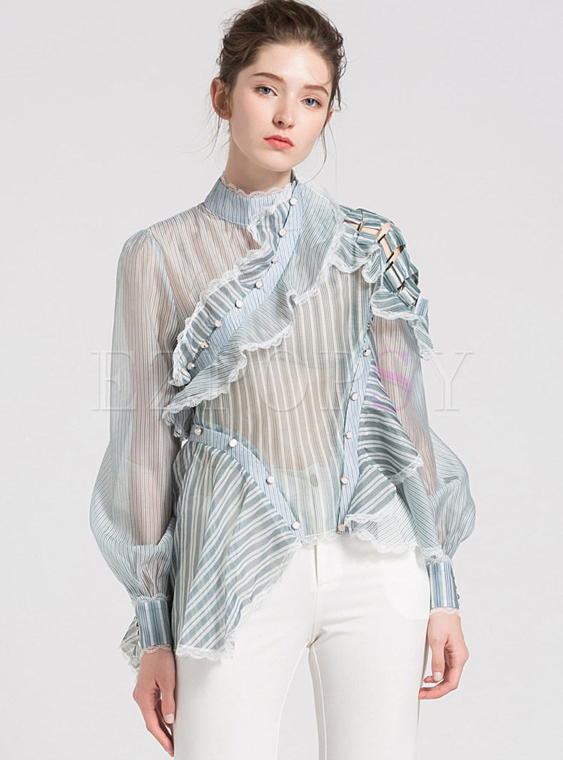 See Through Asymmetric Striped Blouse