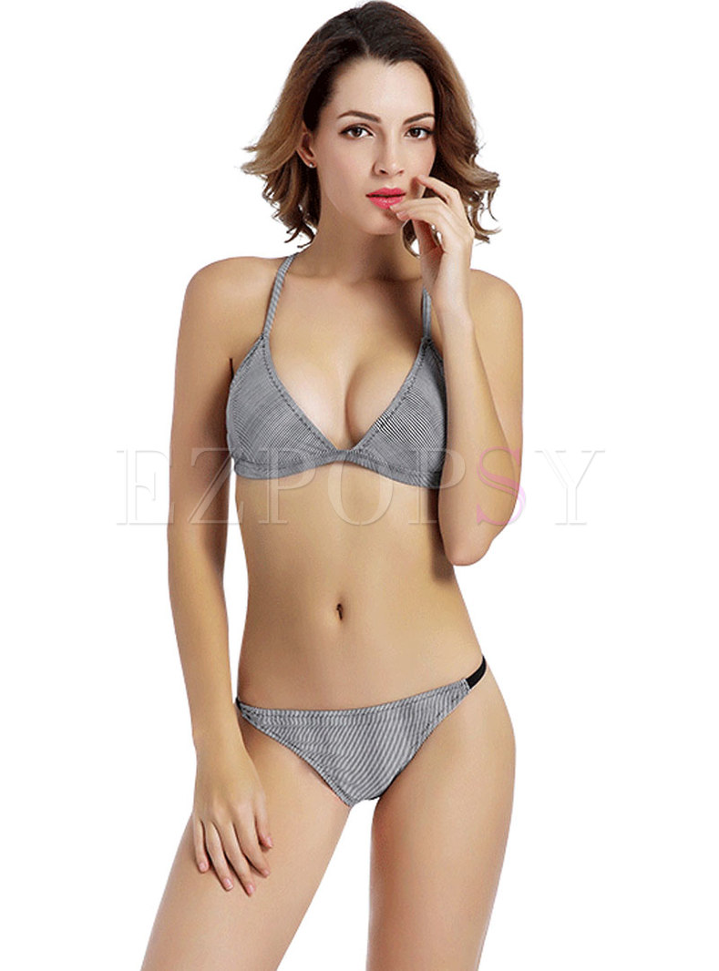 Sexy Striped Triangle Micro Bikini