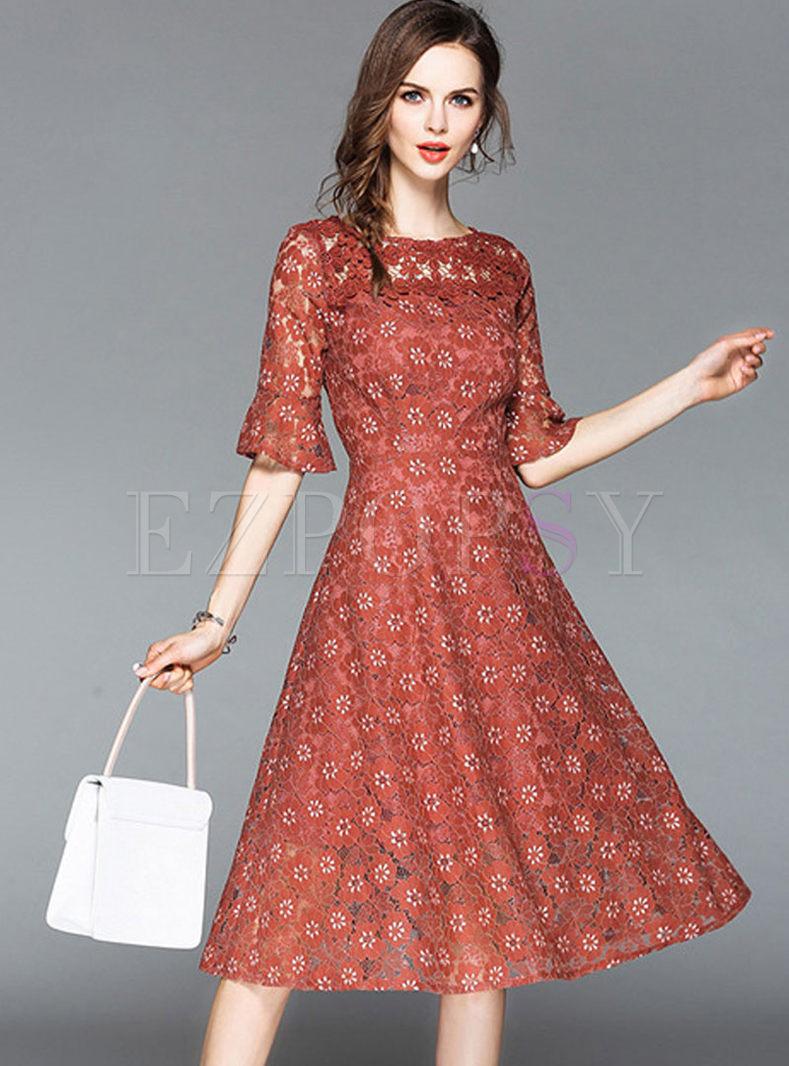 507d15e755cd Dresses | Skater Dresses | Lace Embroidered Half Sleeve Midi Dress