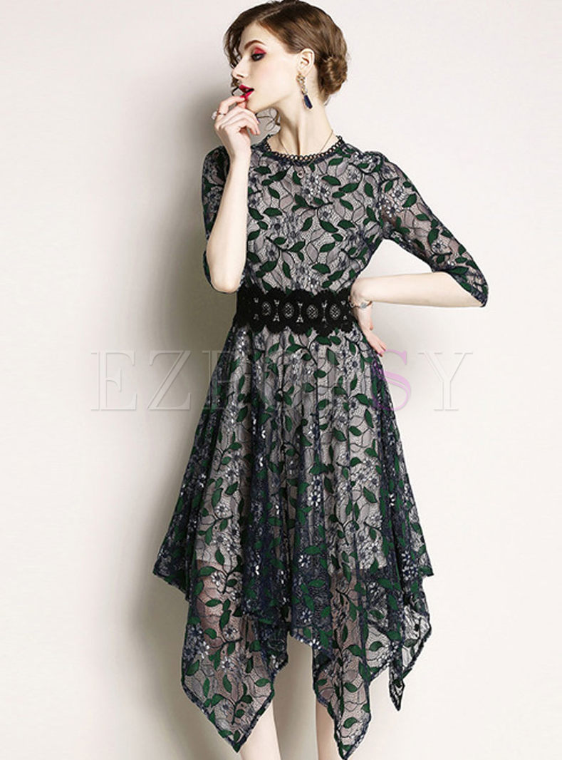 Green Hollow Out Asymmetric Dress