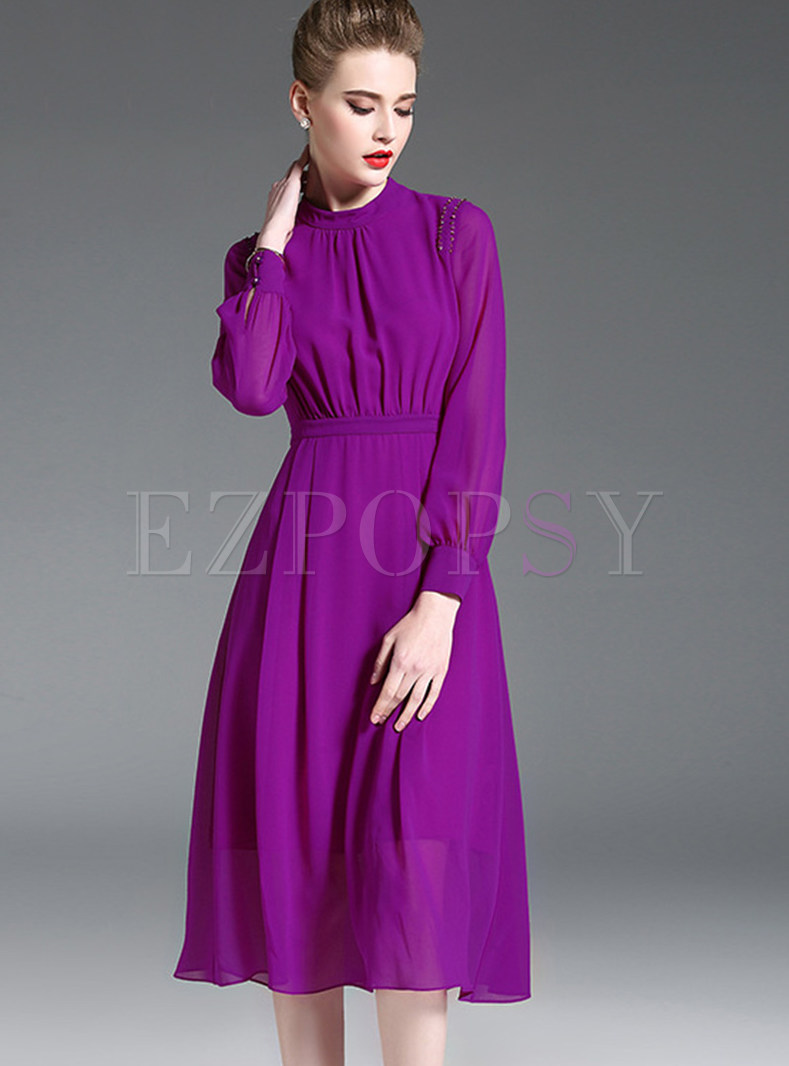 Purple Brief The Waist A Line Dress