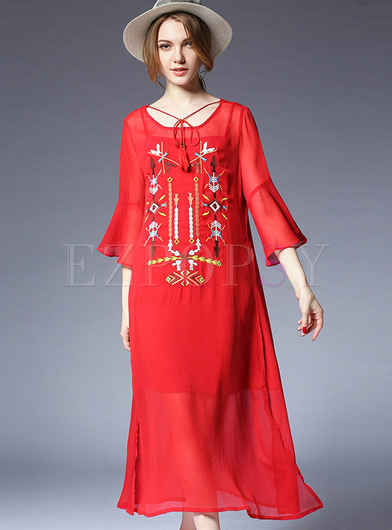 Red Embroidered Flare Sleeve Shift Dress With Underskirt
