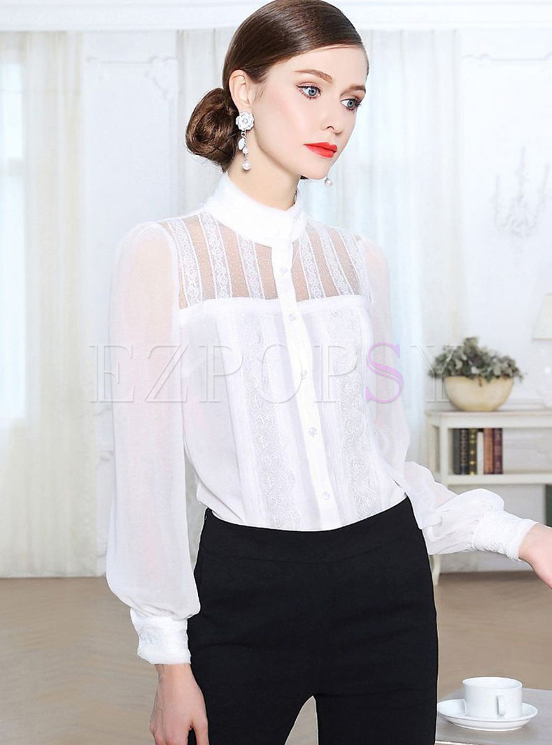 White Silk Perspective Slim Blouse