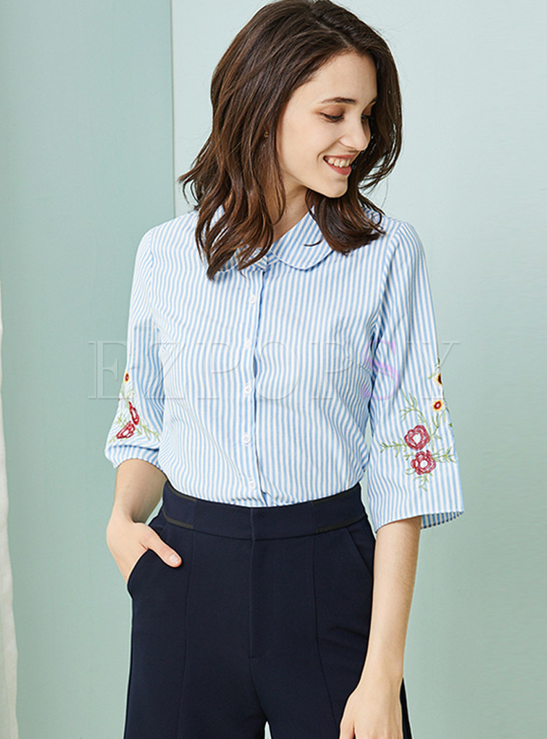 Blue Cute Striped Embroidered Blouse