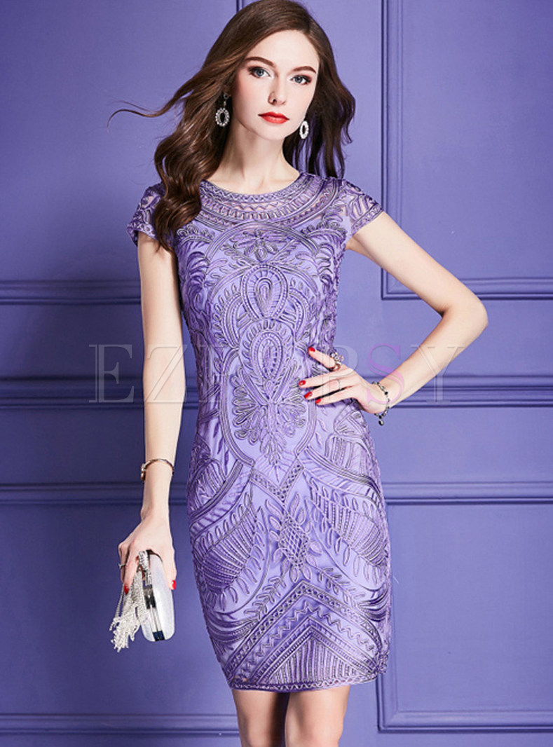 Purple Elegant Embroidered Bodycon Dress
