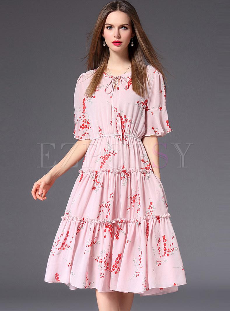 Pink Flare Sleeve The Waist Chiffon Dress