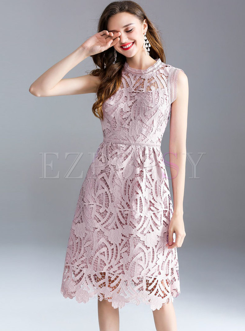 Party Lace Hollow Perspective Midi Dress