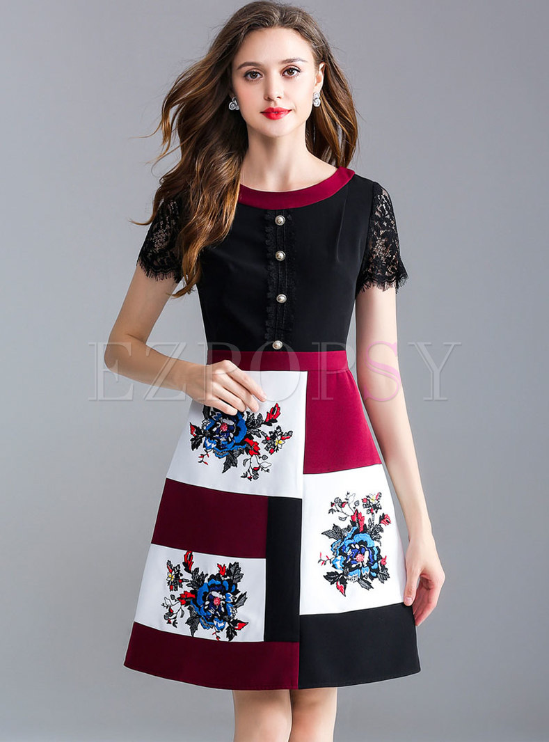 Vintage Floral Print Color-matched A Line Dress