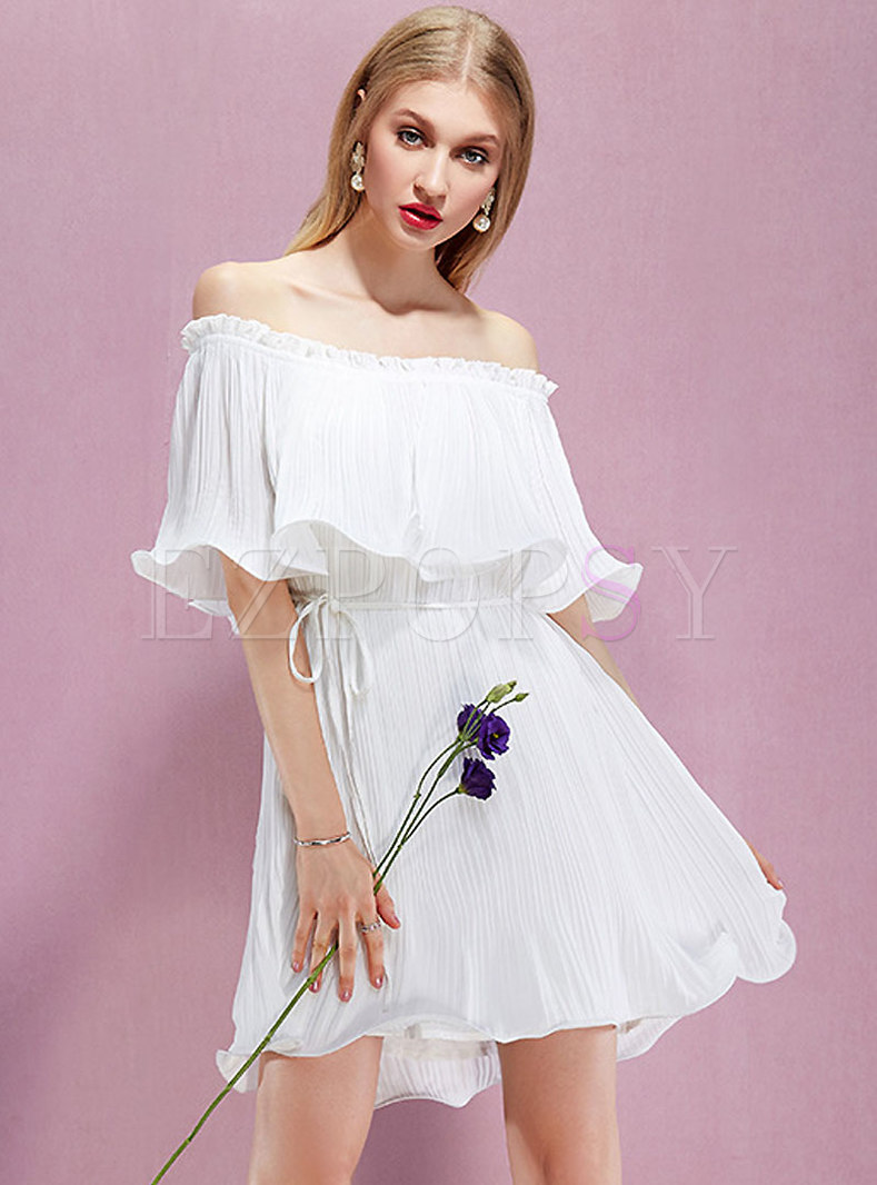 White Off Shoulder Waist Mini A Line Dress