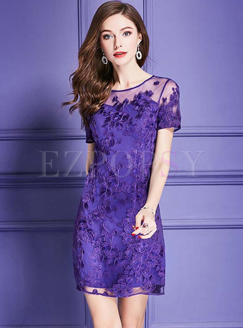 Purple Perspective Embroidered Bodycon Dress
