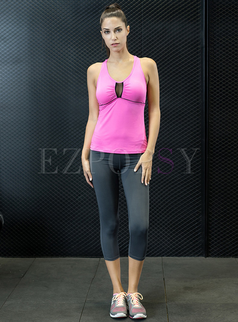 Chic Sleeveless Perspective Sheath Tracksuit