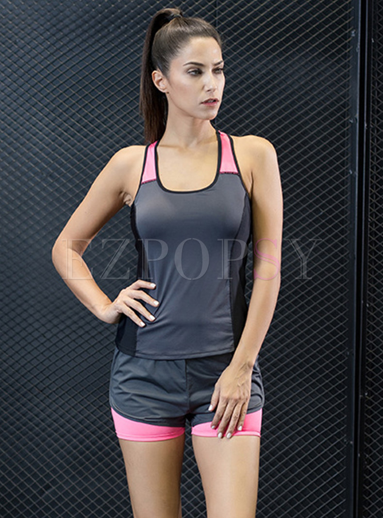 Hit Color Slim Scoop Sport Vest