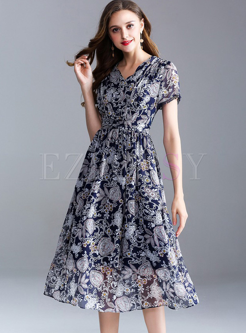 Flower Print Gathered Waist Midi Dress