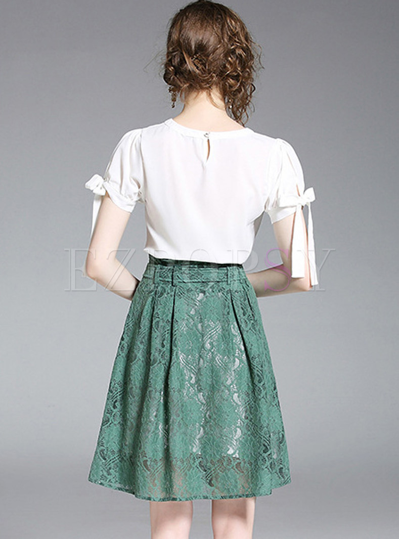 Yellow and green trapeze skirt with duck print and wide lace ruffles size UK 12 US 8 or Any Size Womens clothing MALAM