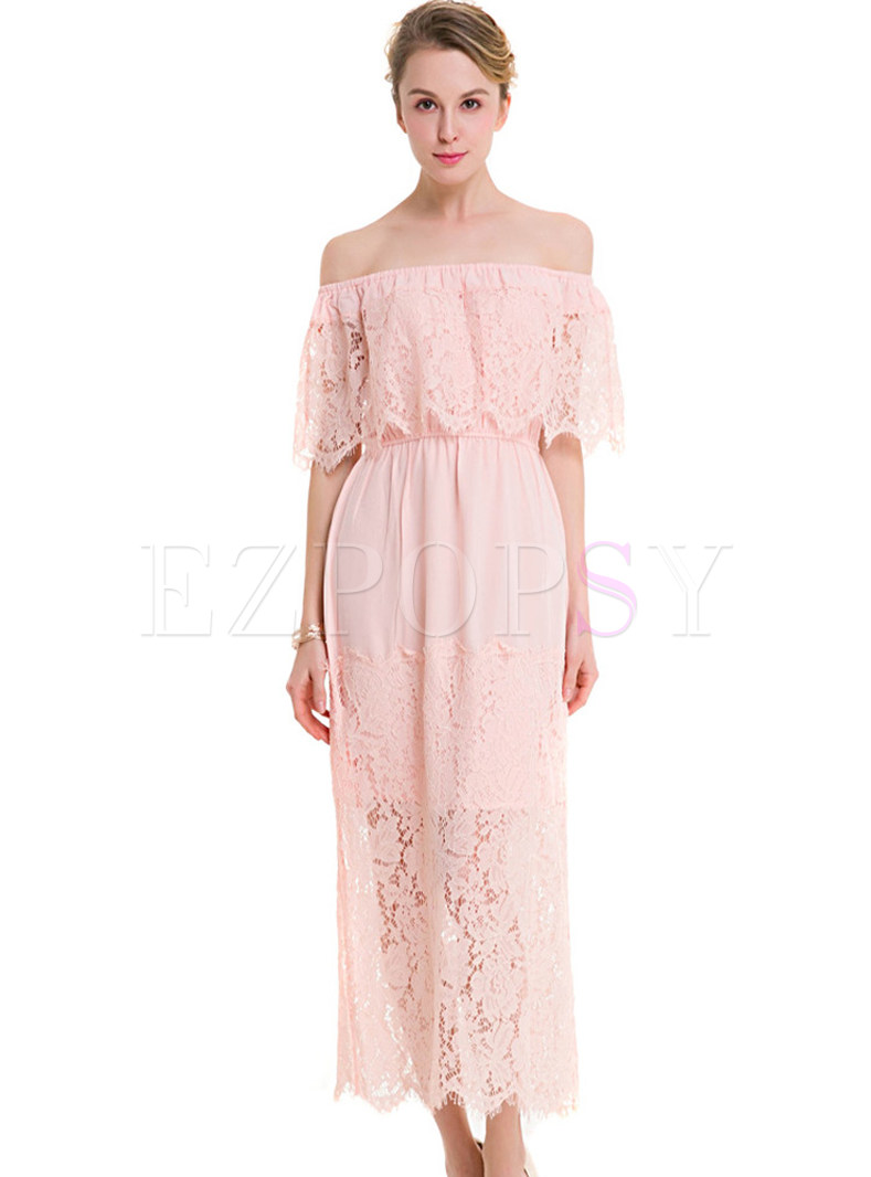 Pink Lace Off Shoulder Maxi Dress